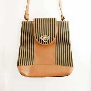 Vintage Brown Vegan Striped Purse Shoulder Bag